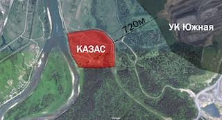 2017.04 Карта Google расположения поселка Казас и угольного разреза УК «Южная»