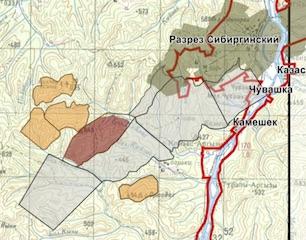2013 Ситуационная карта-схема района расположения проектируемого разреза«Кийзасский»